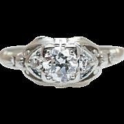 Vintage Art Deco .46CTW Old European Cut Diamond Engagement Ring 18k White Gold