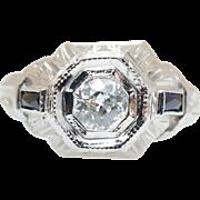 Vintage .72CTW Old European Cut Diamond & Sapphire Engagement Ring 18k White Gold