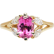 Vintage 1.05CTW Oval Pink Tourmaline & Marquise Diamond Ring in 14k Yellow Gold