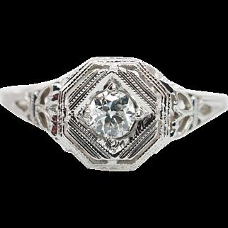 Vintage Late Edwardian Diamond Engagement Ring 18k White Gold