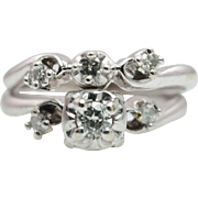 Vintage Diamond 3 Stone Illusion Engagement Ring & Wedding Band Bridal Set