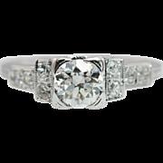 Vintage Late Edwardian .71CTW Diamond Engagement Ring 18k White Gold