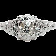 Vintage Art Deco .55CTW Old European Cut Diamond Engagement Ring 18k White Gold