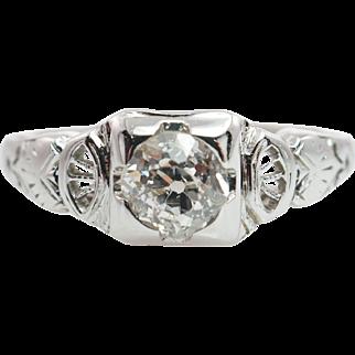 Late Edwardian Style Diamond Engagement Ring 18k White Gold