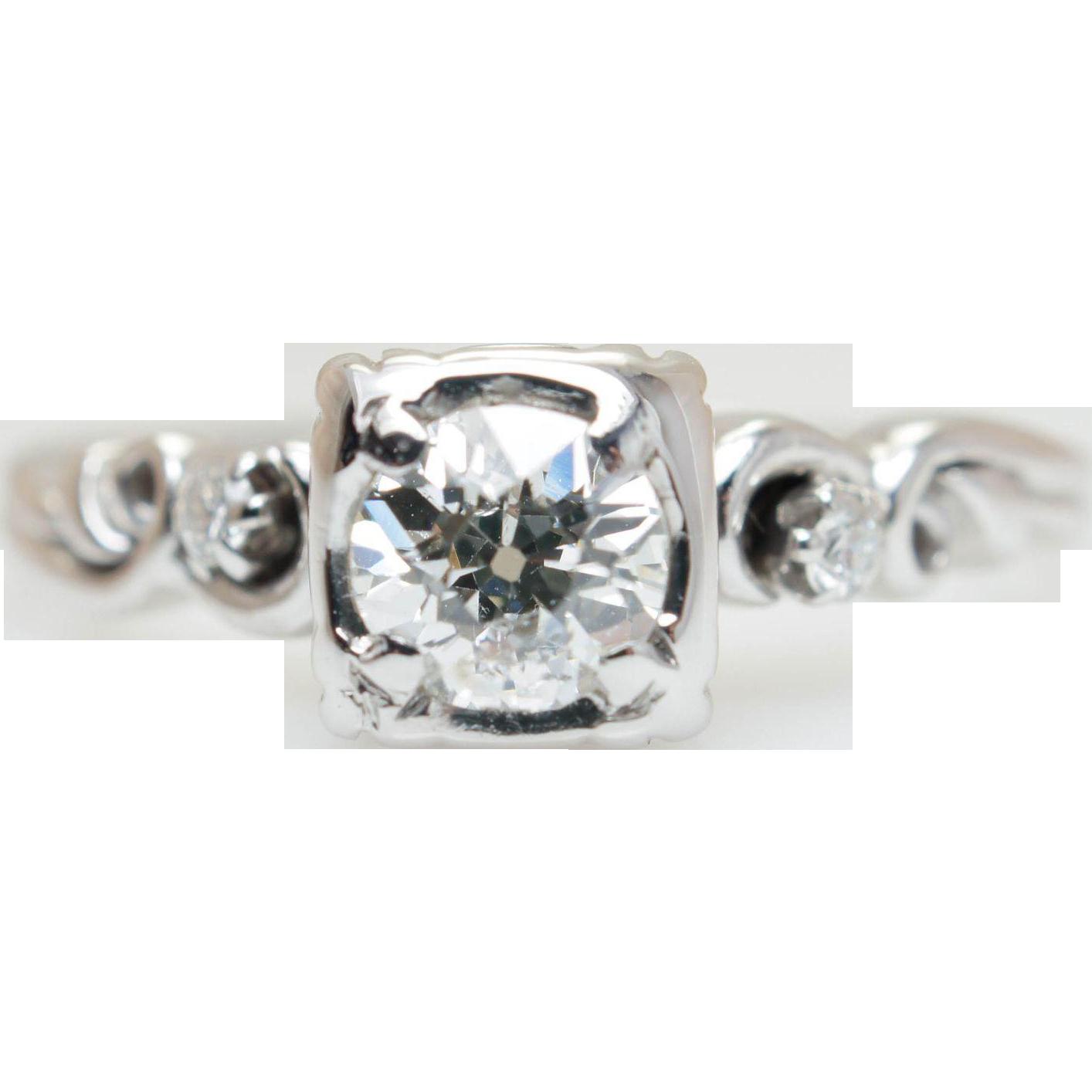 Vintage .54CTW Old European Cut Natural Diamond Engagement Ring 18k White Gold
