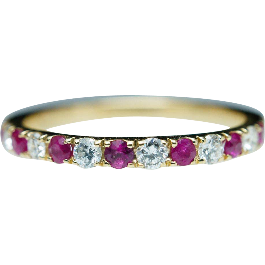 Natural Diamond & Ruby Band Ring in 14k Yellow Gold - Size 6