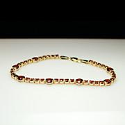 Vintage Natural Spessartite Garnet Tennis Bracelet - 14k Yellow Gold - 7.5 inch