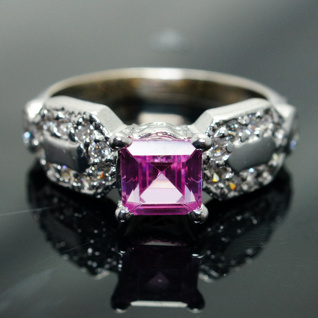 14k White Gold Synthetic Pink Sapphire and Cubic Zirconia Ring - Size 6.75