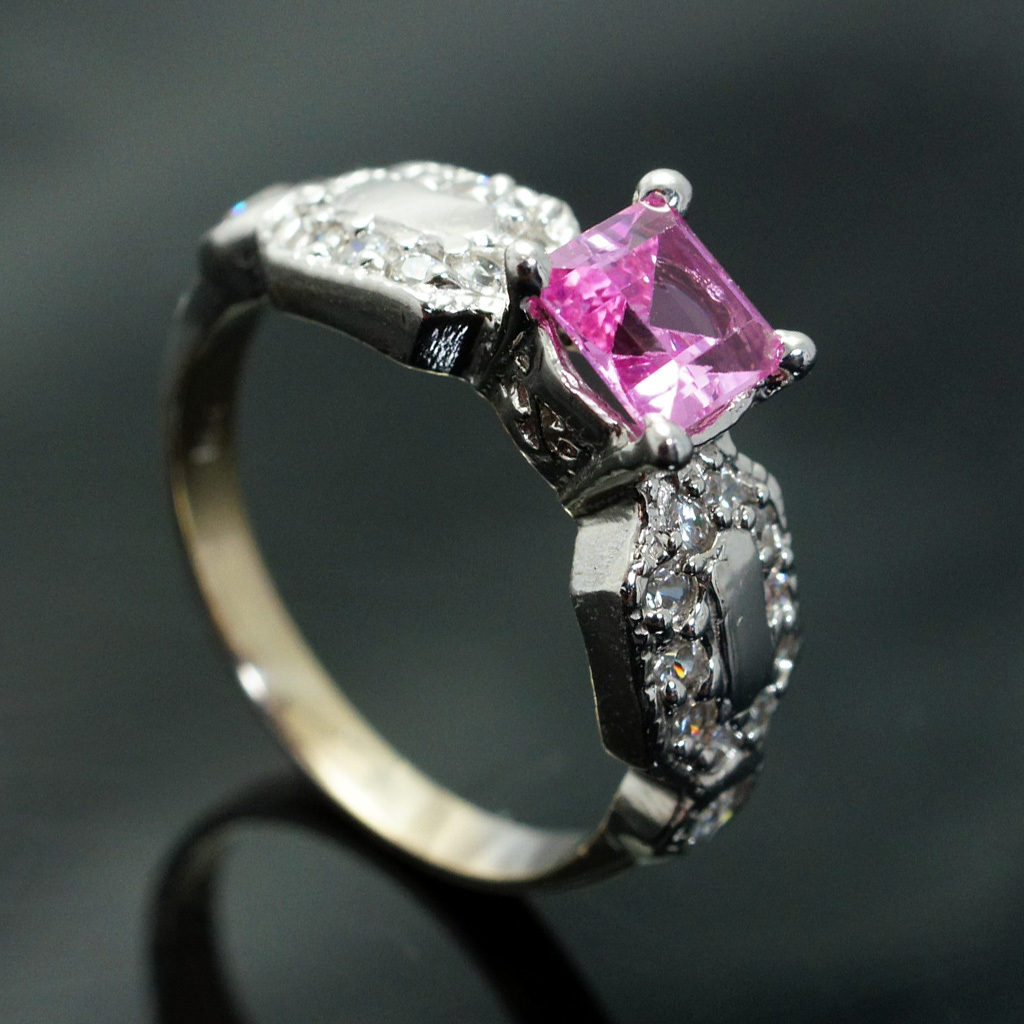 Lab Created Pink Sapphire Ring Square Cut K White Gold