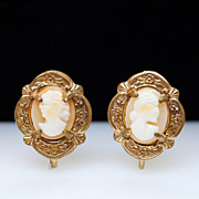 Antique Victorian Age Shell Cameo Earrings