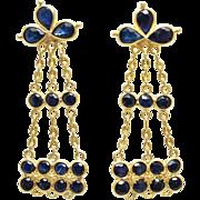 Vintage 3.48CTW Sapphire Dangle Earrings in 18k Yellow Gold