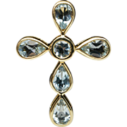 Blue Topaz & 14k Yellow Gold Cross Pendant