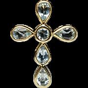 Blue Topaz & 14k Yellow Gold Cross Pendant
