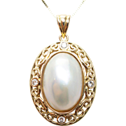 Vintage Mabe Pearl & Natural Diamond 22K Yellow Gold Oval Pendant