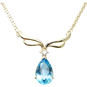 Blue Topaz & Diamond 14K Yellow Gold Pendant Necklace