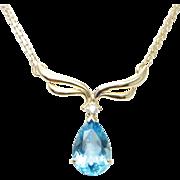Blue Topaz & Diamond 14K Yellow Gold Pendant Necklace