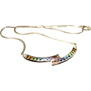 Multicolor Rainbow Gemstone Pride Necklace in 14k Yellow Gold