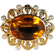 Vintage 14K yellow gold Citrine & Pearl Late Art Deco Brooch Pin