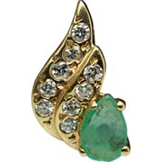 Emerald & Diamond Wing Shape Pendant 14k Yellow Gold