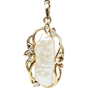 Vintage Freeform Nature Pearl & Diamond Pendant 14k Yellow Gold