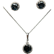 3.40ctw Blue Topaz & Diamond Necklace & Halo Stud Earring Jewerly Set 14k White Gold