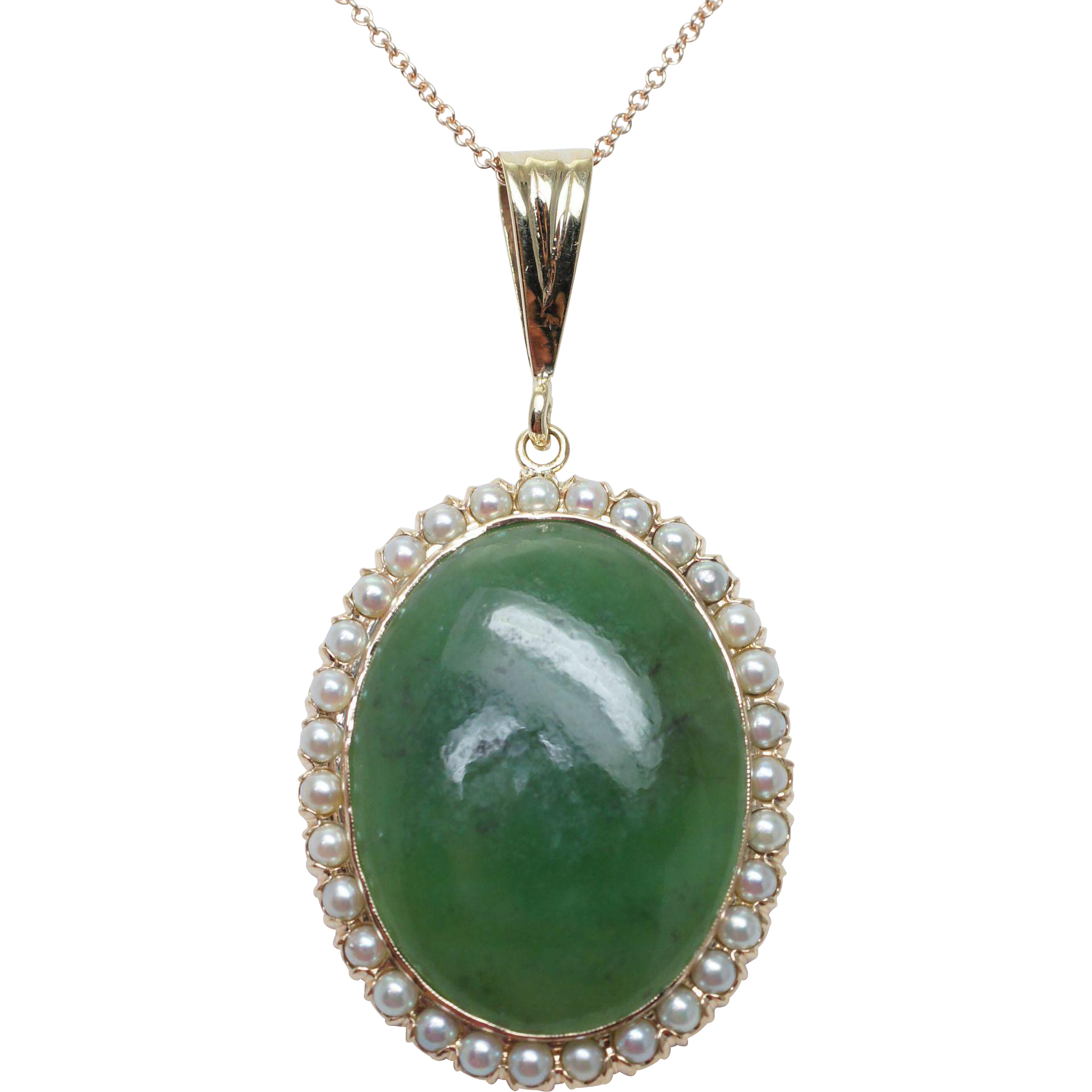 Antique Oval Nephrite Jade Pearl Halo Pendant 14k Yellow Gold