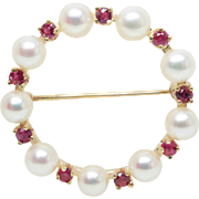 Vintage Cultured Pearl and Natural Sapphire Brooch 14K Yellow Gold
