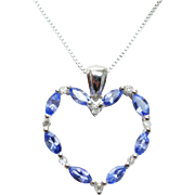 Vintage Natural Tanzanite and Diamond 14K White Gold Heart Pendant