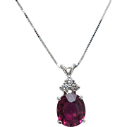 Rectangular Cushion Cut Rubellite Tourmaline & Diamond Pendant in 14k White Gold