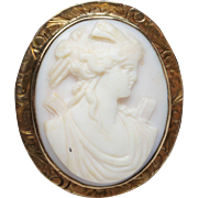Vintage Conch Shell Cameo Brooch Pendant with 10k Yellow Gold