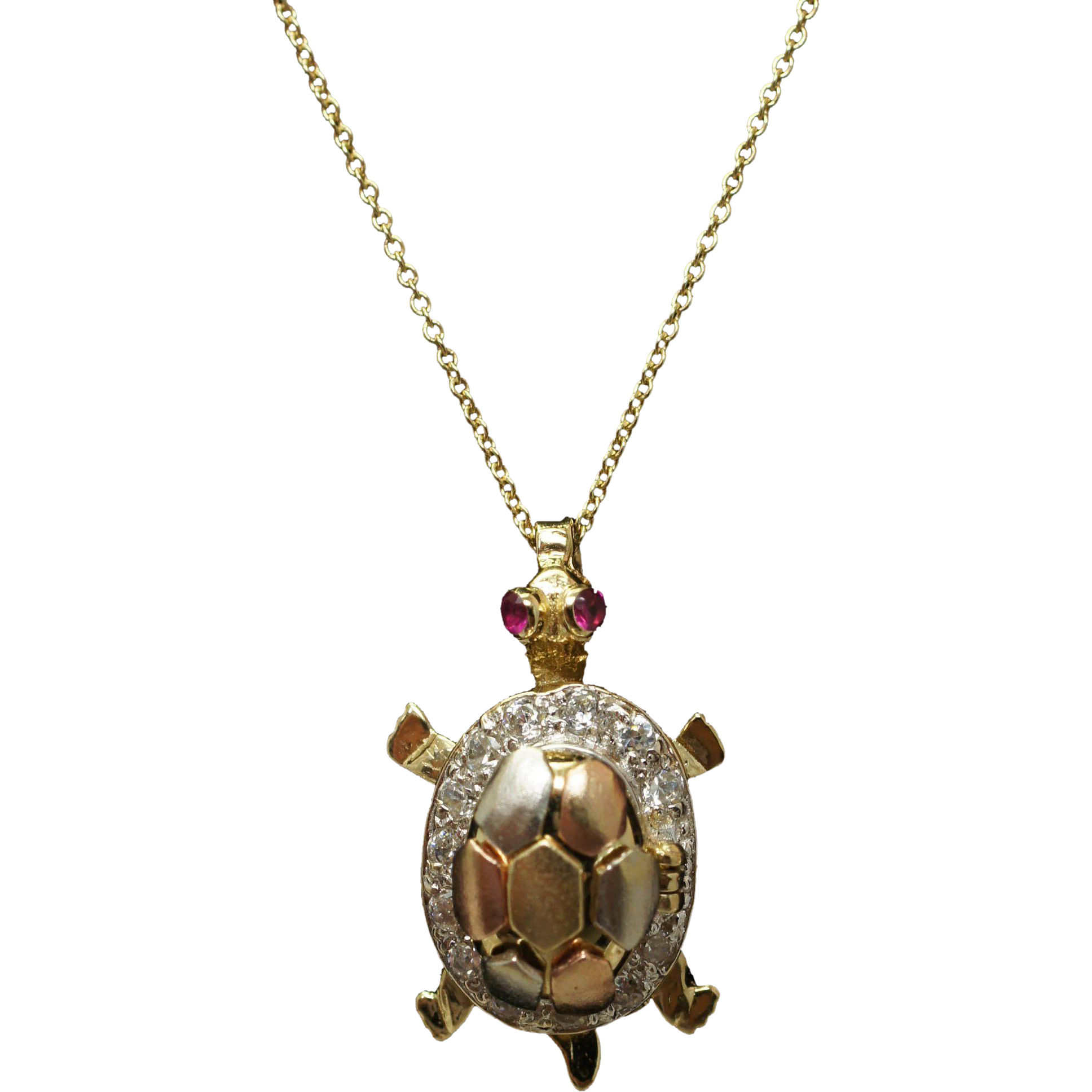 Cubic Zirconia & Lab Ruby Turtle Pendant in 14k Yellow, White, Rose Gold Tortoise Animal Jewelry