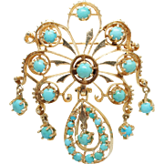 Vintage Art Deco Turquoise Brooch Pin 14k Yellow Gold