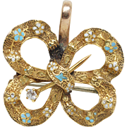 Antique Late Victorian Diamond & Enamel Brooch Pendant Pin 14k Yellow Gold