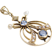 Antique Arts &  Crafts Period Blue Topaz & Pearl Pendant 14k Yellow Gold
