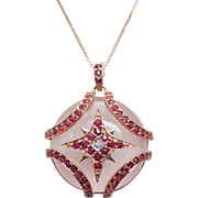 Diamond, Ruby, & Quartz Pendant in 10k Rose Gold Plated Sterling Silver