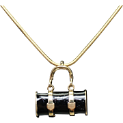 Vintage Black Enamel & 14k Yellow Gold Purse Pendant Necklace