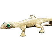 Larry the Lizard 14k Yellow Gold & Emerald Brooch Pin