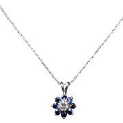 Vintage Diamond & Blue Sapphire Star Pendant Star Stud Earrings Jewelry Set 14k White Gold