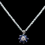 Vintage Diamond & Blue Sapphire Star Pendant Star Stud Earrings Jewelry Set 14k White Gold