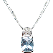 Solitaire Aquamarine & Diamond Pendant in 14k White Gold