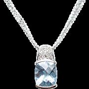 Solitaire Aquamarine & Diamond Pendant in 14k White Gold