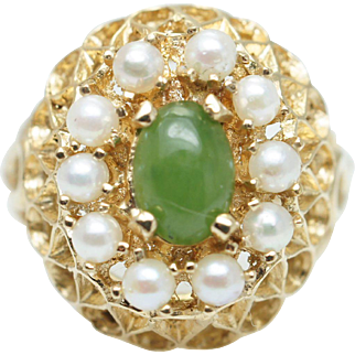 Vintage Nephrite & Pearl Cocktail Ring in 14k Yellow Gold
