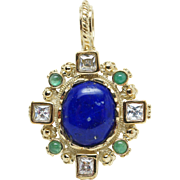Vintage Lapis Lazuli, Emerald, & Glass Pendant in 14k Yellow Gold Art Deco Jewelry