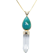 Vintage Turquoise Rock Crystal Quartz Dangle Pendant in 14k Yellow Gold