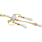 Vintage Opal & Pearl Dangle Pendant in 10k Yellow Gold