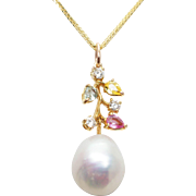 Vintage Pearl, Colored Sapphire Flower, & Diamond Branch Pendant 18k Yellow Gold