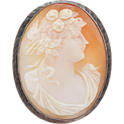 Vintage Helmut Shell Cameo Brooch Sterling Silver