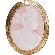 Vintage Dexter View Conch Shell Cameo Brooch 10k Yellow Gold