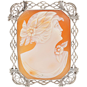 Vintage Conch Shell Cameo Brooch 14k White Gold