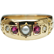 Antique Late Victorian Cultured Pearl & Natural Ruby Band Ring in 18k Yellow Gold - Size 6